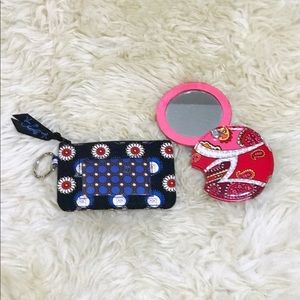 Vera Bradley Blue Owl ID Case and Pink Mirror